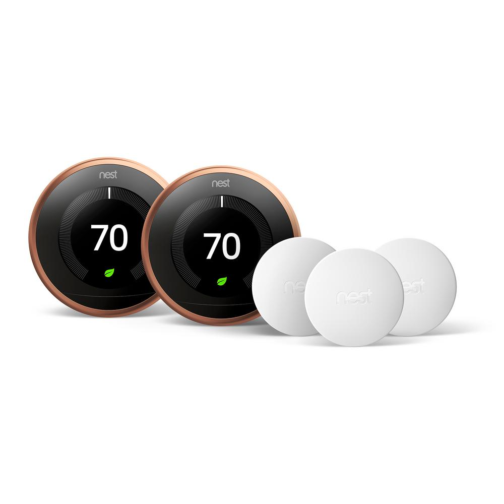 Smart Learning Wi-Fi 24-Day Programmable Thermostat, 3rd Gen, Copper (2-Pack)