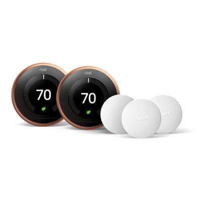 Smart Learning Wi-Fi 24-Day Programmable Thermostat, 3rd Gen, Copper (2-Pack) with Temperature Sensor (3-Pack)