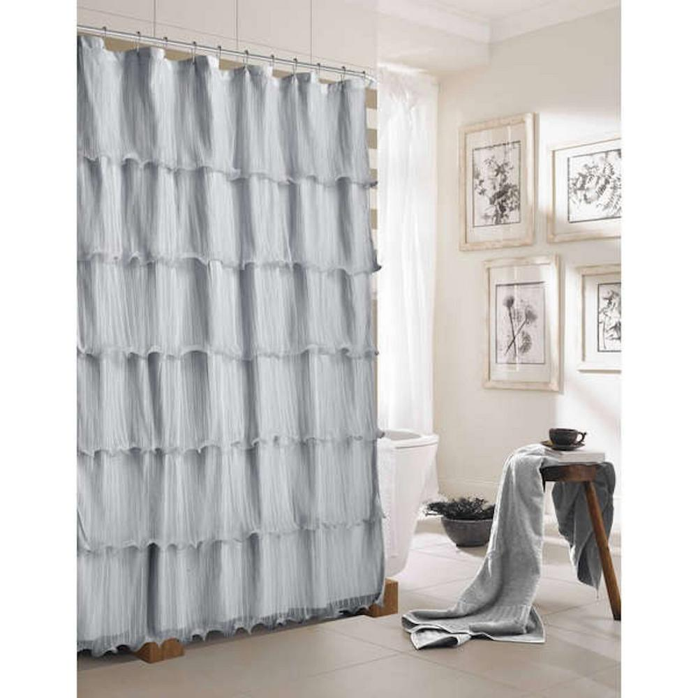 Lily 72 in. Silver Ruffled Shower Curtain-LILYSCSI - The Home Depot
