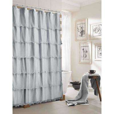 Lily 72 in. Silver Ruffled Shower Curtain