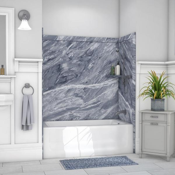 Elite 32 in. x 60 in. x 60 in. 9-Piece Easy Up Adhesive Tub Surround in Beaumont