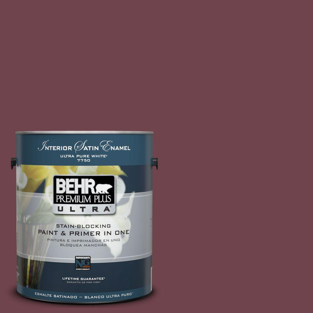 BEHR Premium Plus Ultra 1-Gal. #UL100-3 Formal Maroon Interior Satin Enamel Paint-DISCONTINUED