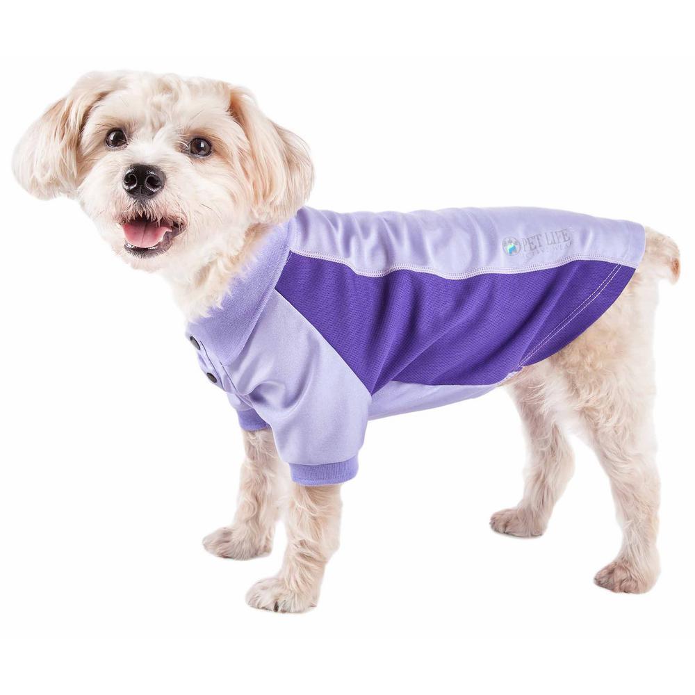 Large Purple Active Barko Pawlo Relax-Stretch Performance Dog Polo T-Shirt