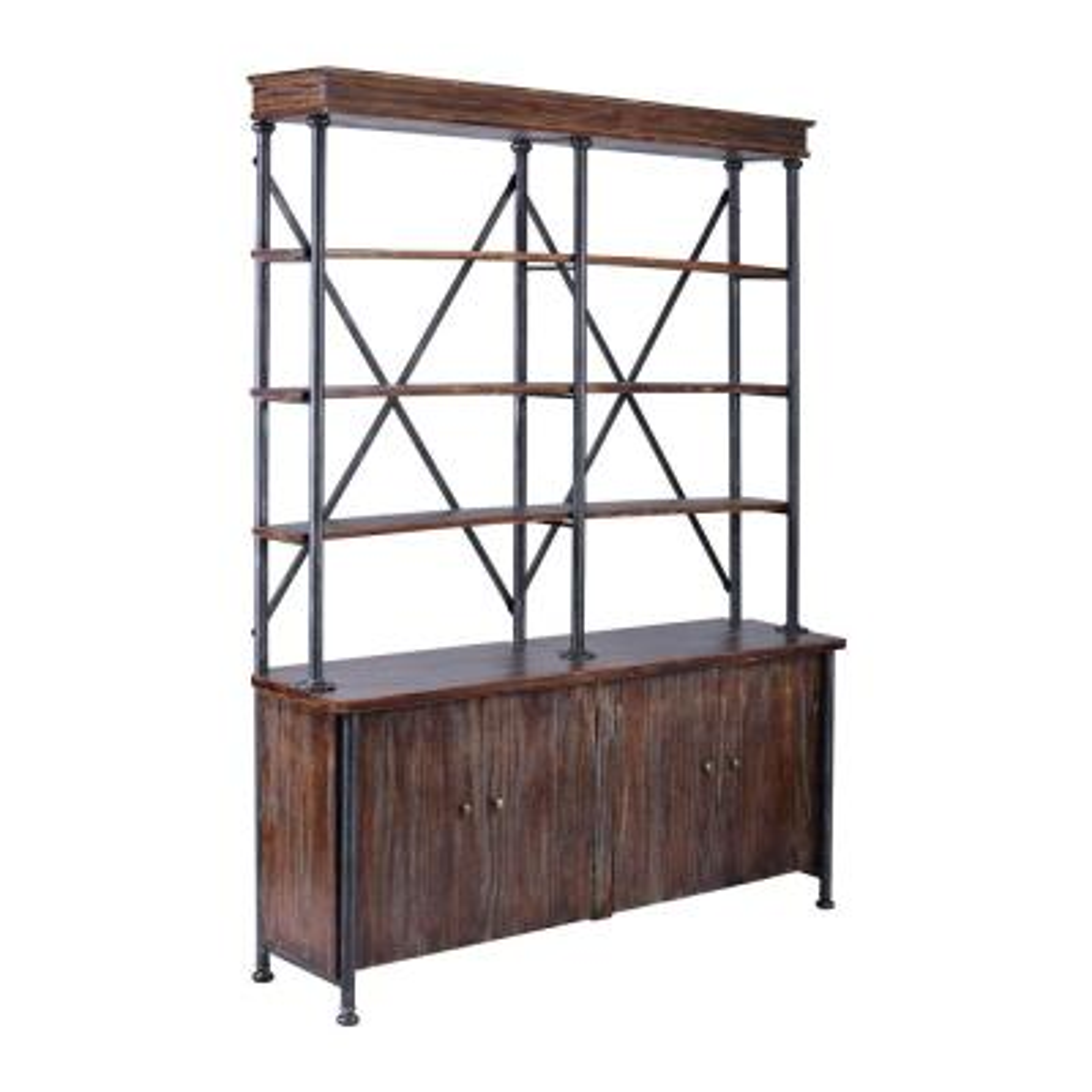 78.74 in. Rustic Pine/Black Metal 4-shelf Standard Bookcase with Doors