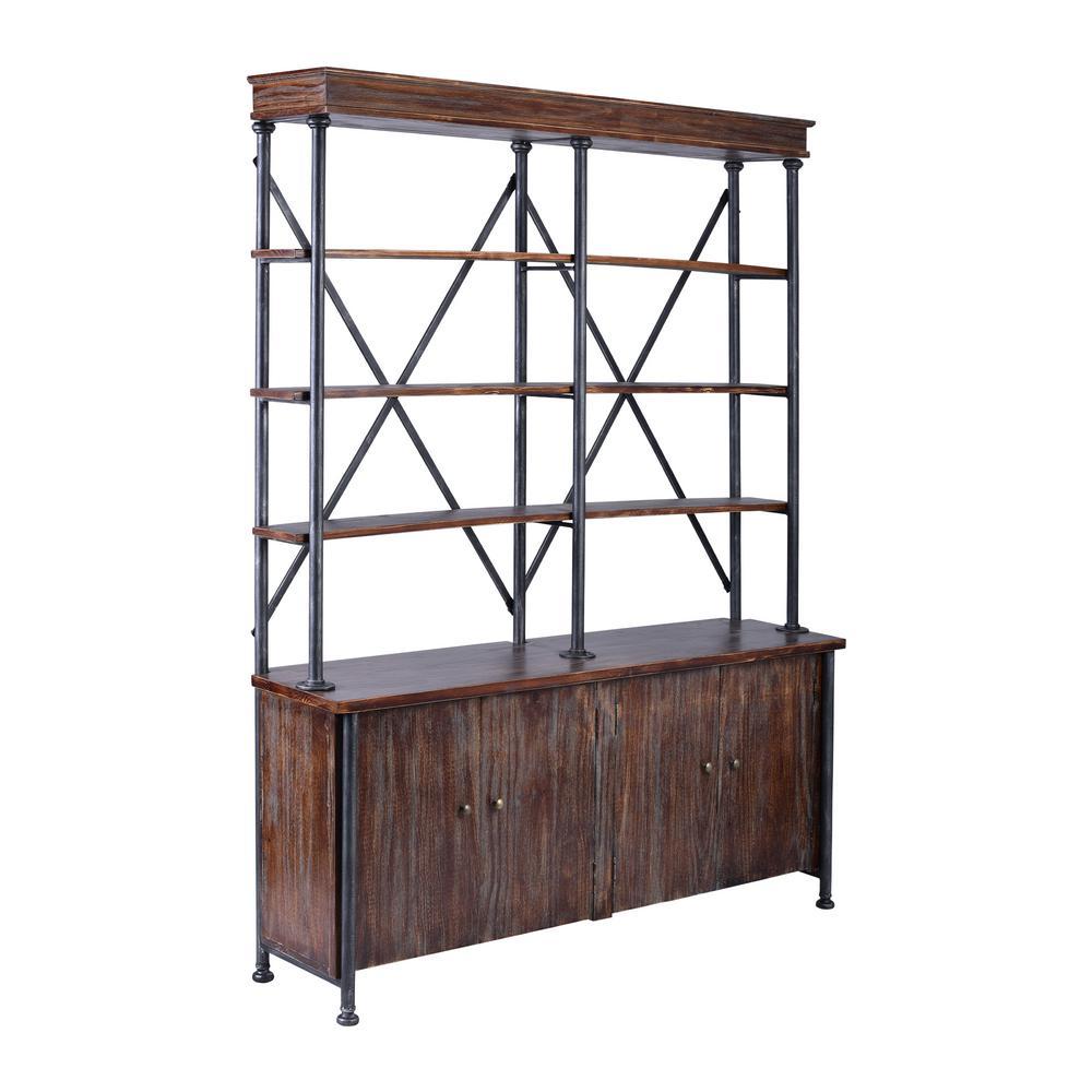 Kelsey Rustic Pine Wood Bookshelf