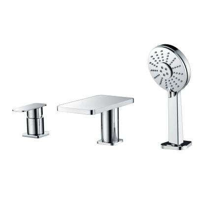 Single-Handle Deck Mount Roman Tub Faucet in Polished Chrome