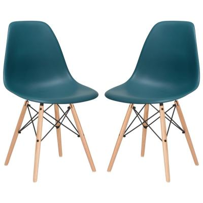 Vortex Teal Side Chair with Natural Legs (Set of 2)