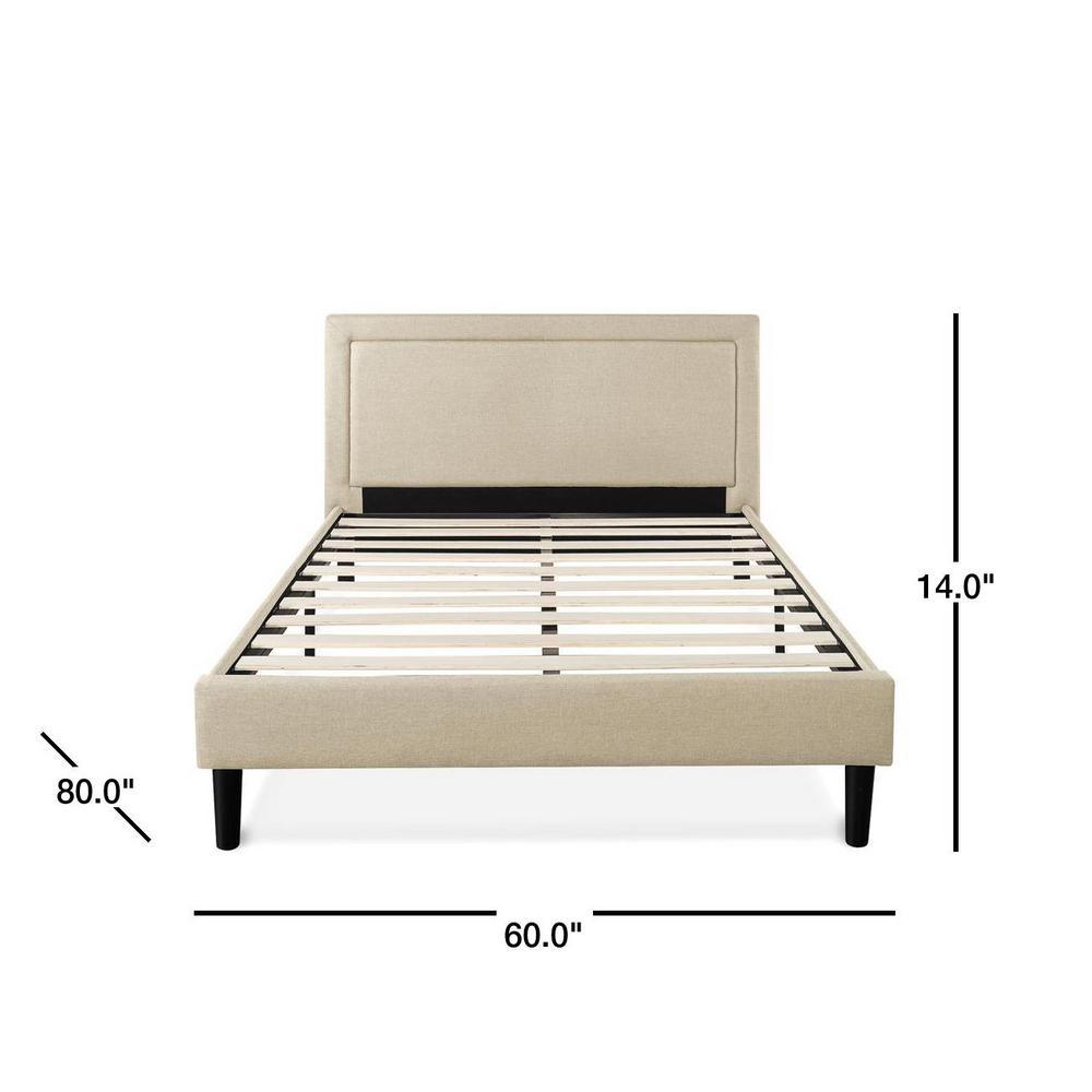 Zinus Mckenzie Upholstered Detailed Platform Bed With Wooden Slats Queen Hd Flpb Q The Home Depot