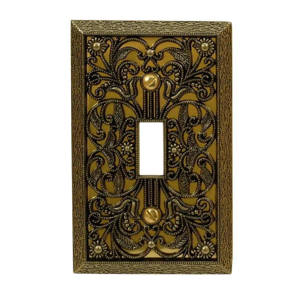 Brass Light Switch Covers Beauteous Amerelle Filigree 1 Toggle Wall Plate  Antique Brass65Tab  The Decorating Design