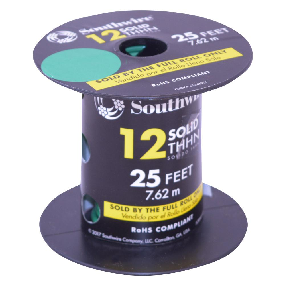 Southwire 25 ft. 12 Green Solid CU THHN Wire