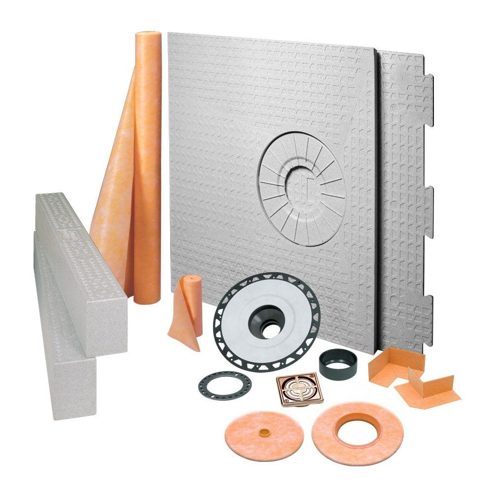Schluter Kerdi-Shower 32 in. x 60 in. Off-Center Shower Kit in ABS with Brushed Copper/Bronze Anodized Aluminum Drain Grate