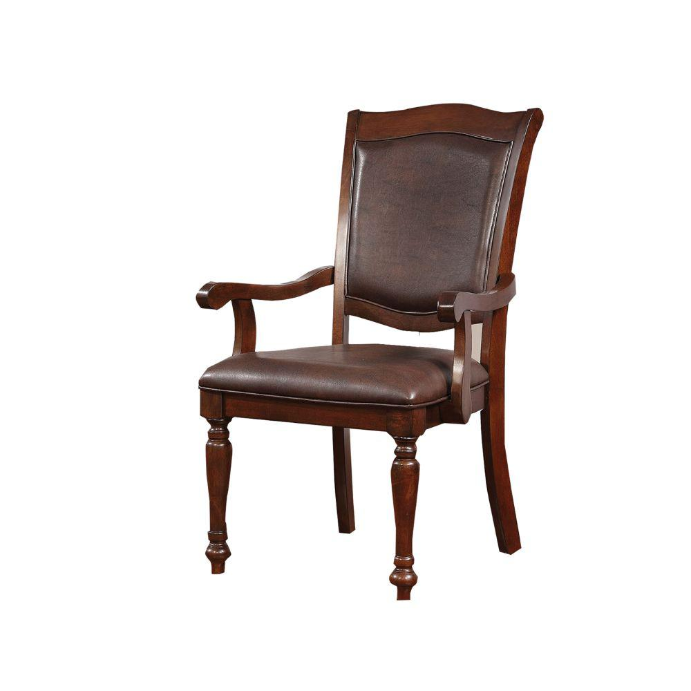 39 in. H Cherry Brown Wooden Arm Chair with Leather Upholstery (Set Of 2)