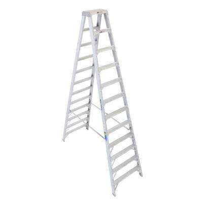12 ft. Aluminum Twin Step Ladder with 375 lb. Load Capacity Type IAA Duty Rating