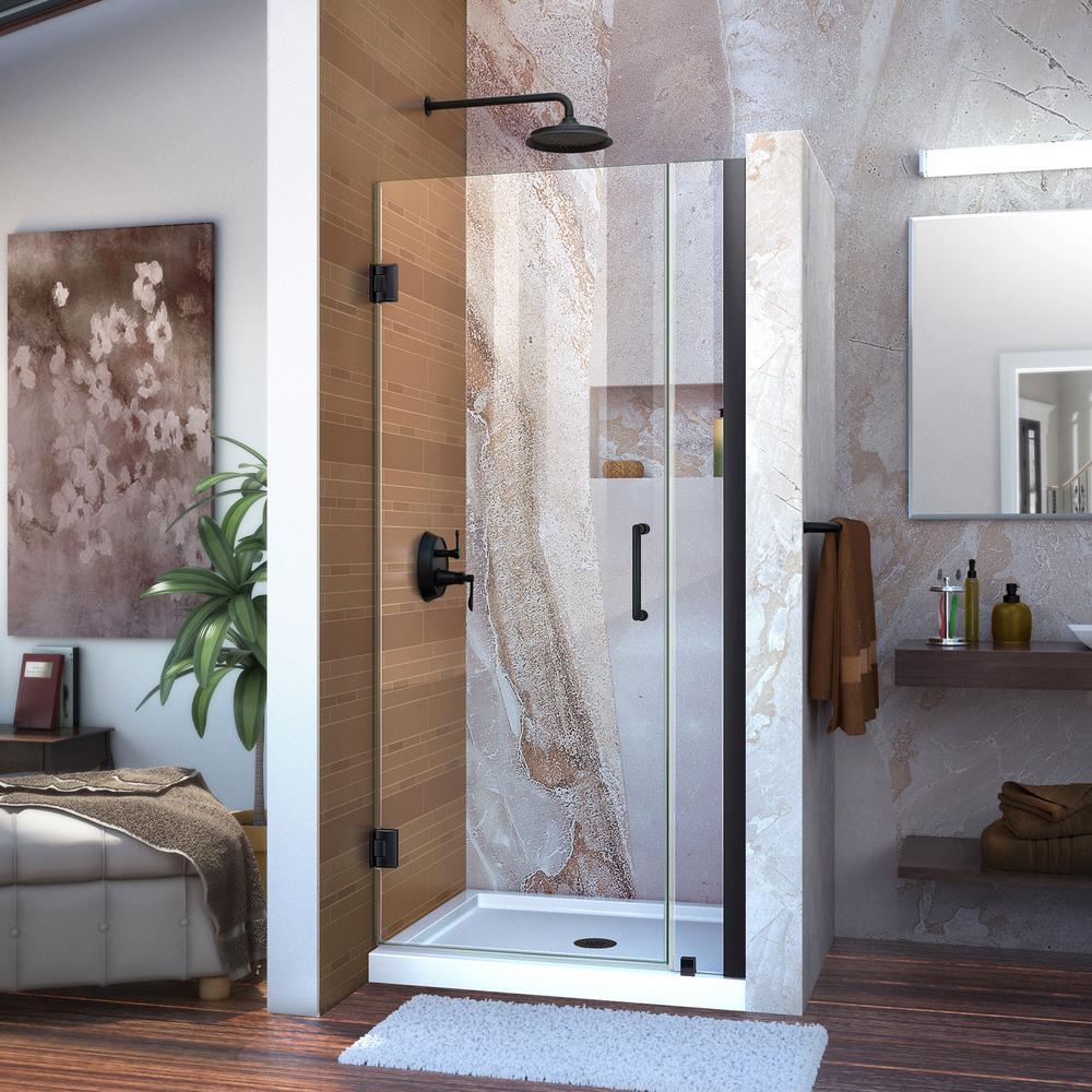 Unidoor 32 to 33 in. x 72 in. Frameless Hinged Shower Door in Satin Black
