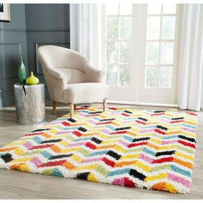 Kids Shag Ivory/Multi 4 ft. x 6 ft. Area Rug