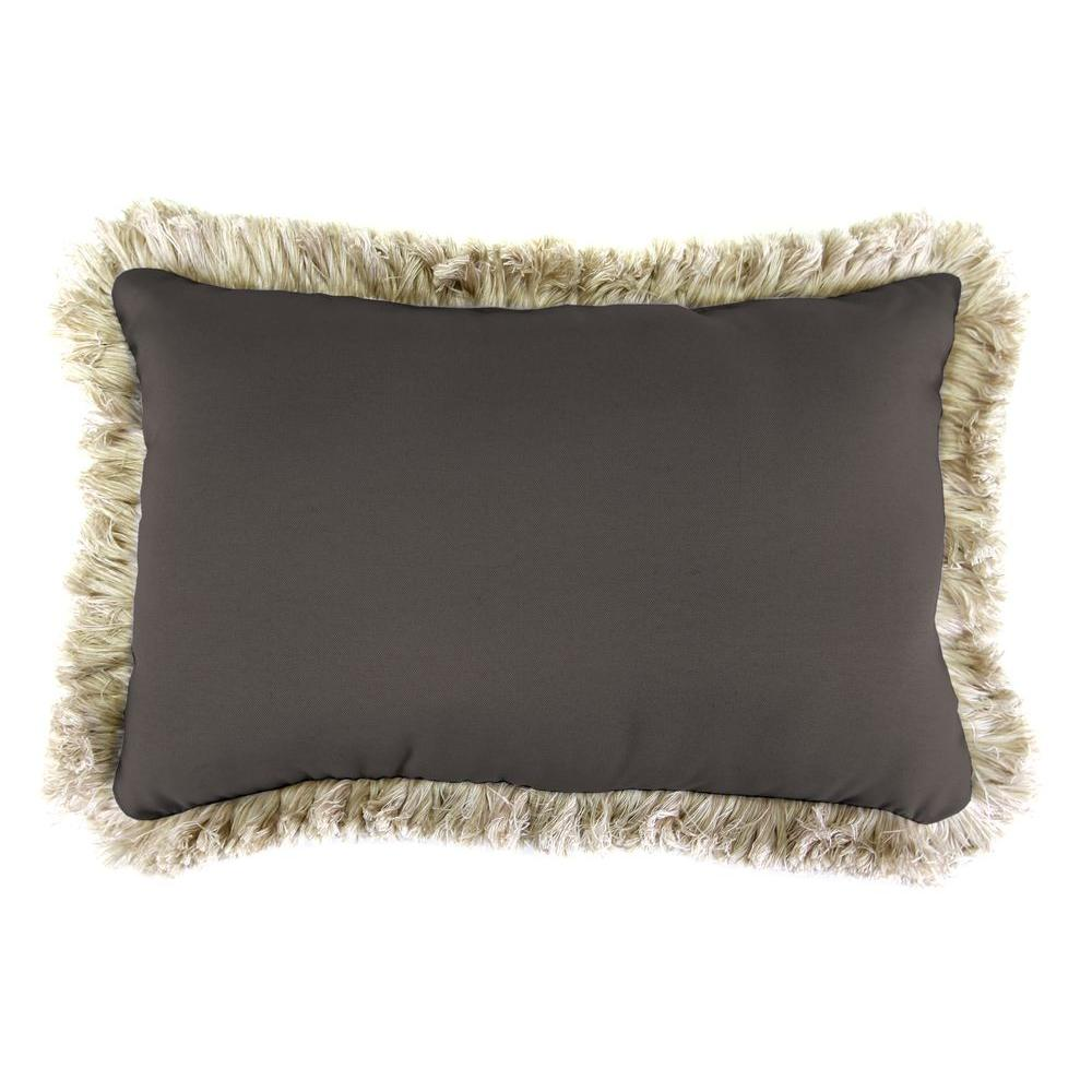 Jordan Manufacturing Sunbrella 9 in. x 22 in. Canvas Coal Lumbar Outdoor Pillow with Canvas Fringe