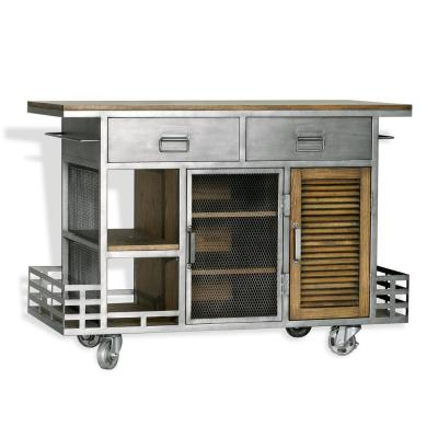 Jaxon Kitchen Island Antiqued Steel