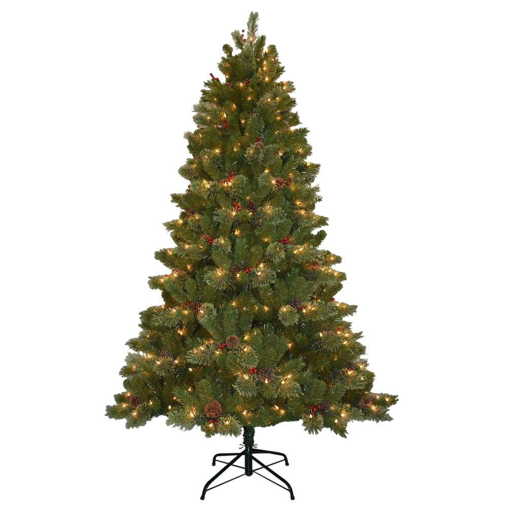 National Tree Company 7.5 ft. Cashmere Cone and Berry ...