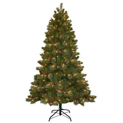 7.5 ft. Cashmere Cone and Berry Decorated Artificial Christmas Tree with 550 Clear Lights