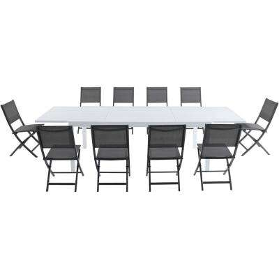 Palermo 11-Piece Aluminum Outdoor Dining Set with 10-Folding-Sling Chairs in Gray and a White Expandable Dining Table
