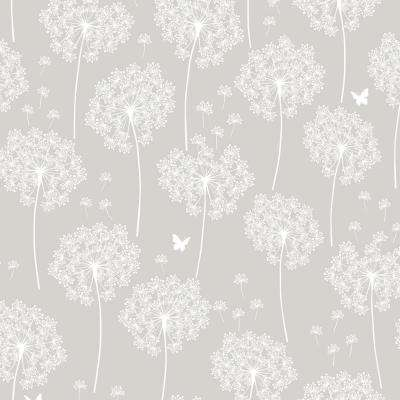 Grey Dandelion Peel and Stick Wallpaper