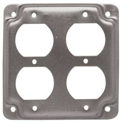 4 in. Square Exposed Work Cover for 2-Duplex Receptacles