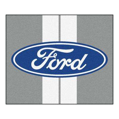 Ford Oval with Stripes Gray 4 ft. 11.5 in. x 5 ft. 11 in. Indoor/Outdoor Tailgater Mat