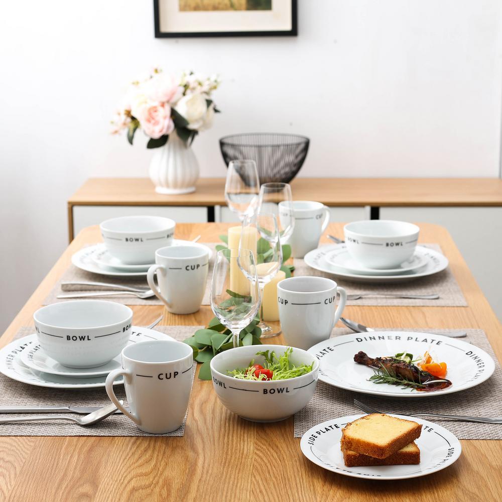 16-Piece Modern Black Lettering White Porcelain Dinnerware Sets (Service for Set for 4)
