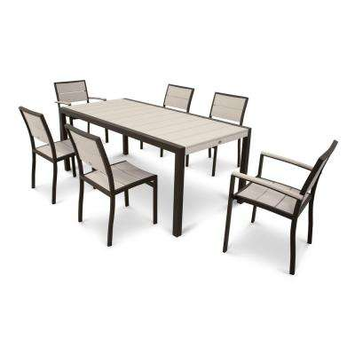 Surf City Textured Bronze 7-Piece Plastic Outdoor Patio Dining Set with Sand Castle Slats