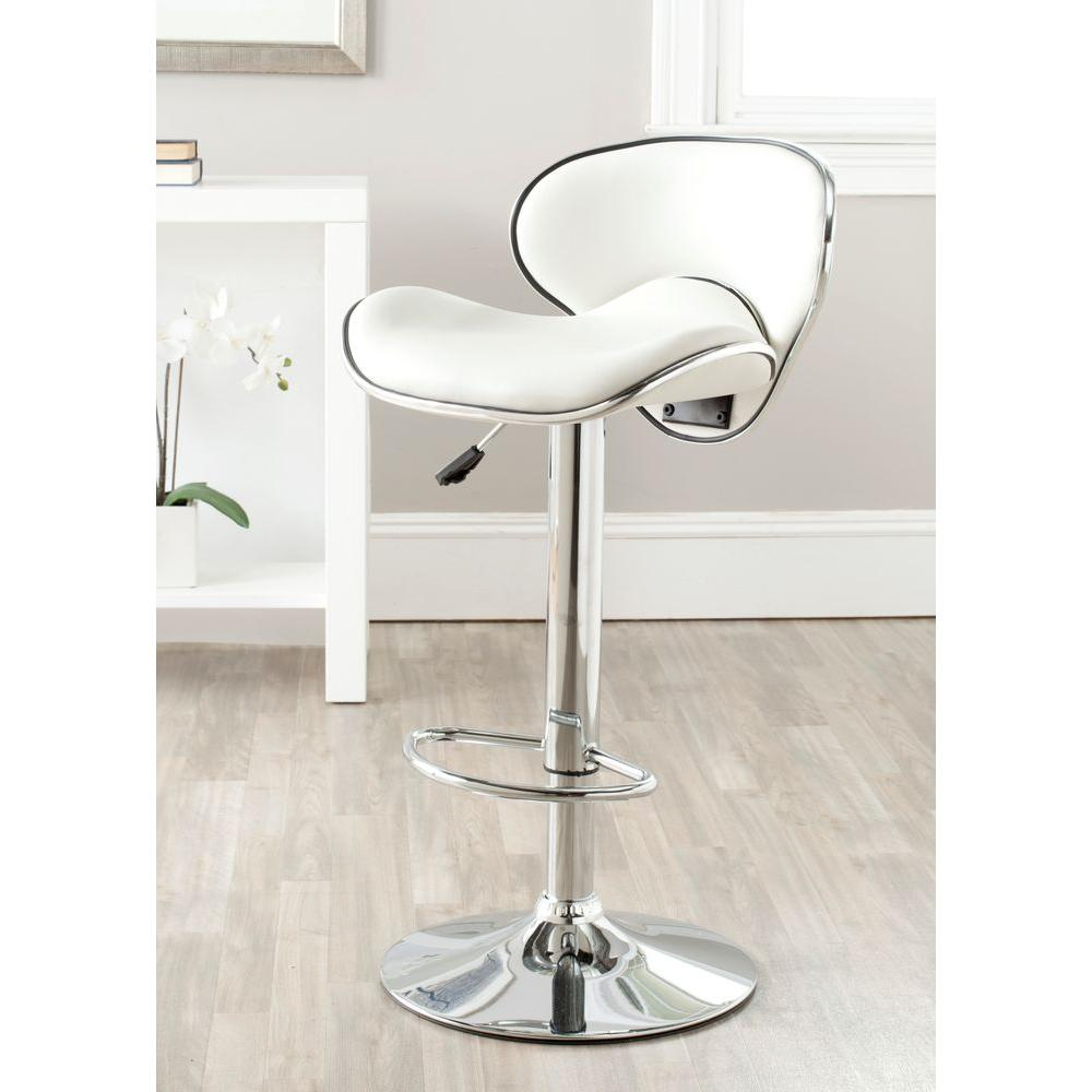 Safavieh Shambi Adjustable Height Chrome Swivel Cushioned Bar Stool