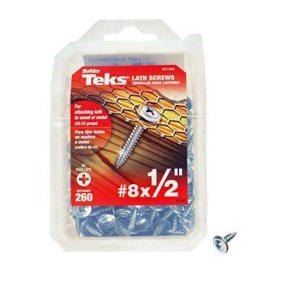 #8 x 1/2 in. Phillips Zinc-Plated Steel Truss-Head Sharp Point Lath Screws (260-Pack)