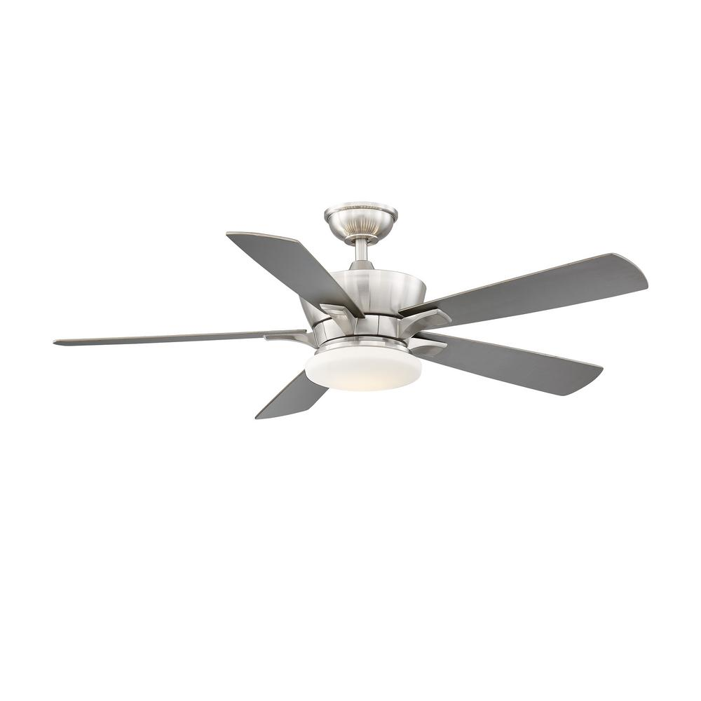 Home Decorators Collection Bergen 52 in. LED Uplight Brushed Nickel Ceiling Fan With Light and Remote Control