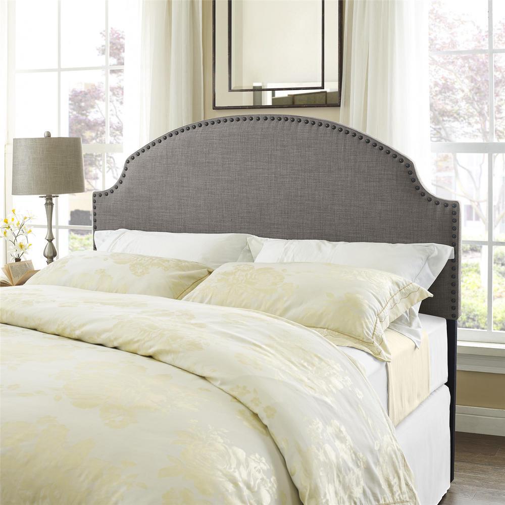 Queen beds headboards bedroom furniture the home depot kamden gray linen fullqueen headboard with nailheads amipublicfo Gallery