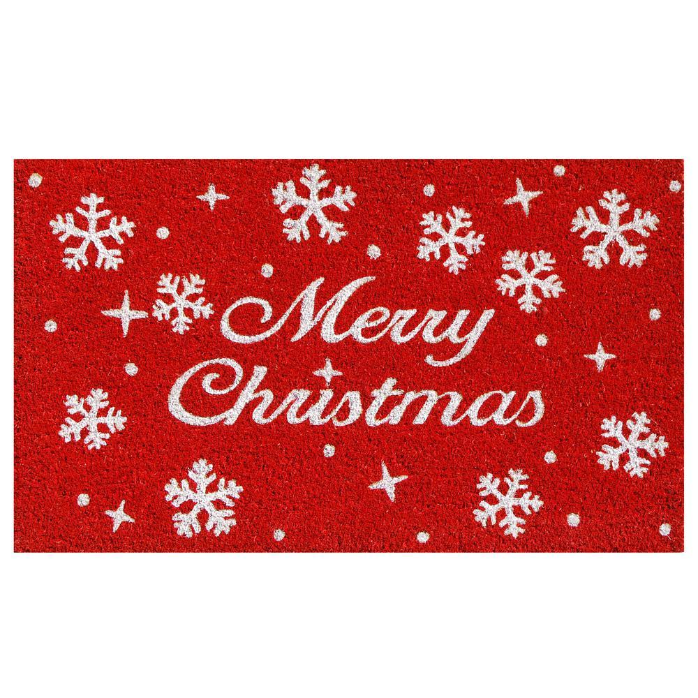 Christmas Stars 17 in. x 29 in. Coir Door Mat