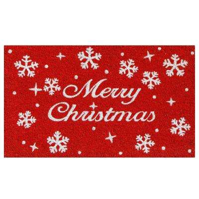 Christmas Stars 17 in. x 29 in. Coir Door Mat