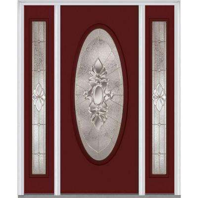 64.5 in. x 81.75 in. Heirlooms Right-Hand Inswing Oval Lite Decorative Fiberglass Smooth Prehung Front Door w/ Sidelites