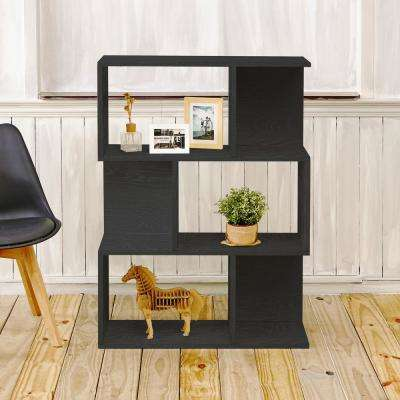 Madison 3 Shelf 11.2 in. x 32.1 in. x 44.8 in. Black Wood Grain zBoard Bookcase, Room Divider, Storage Shelf