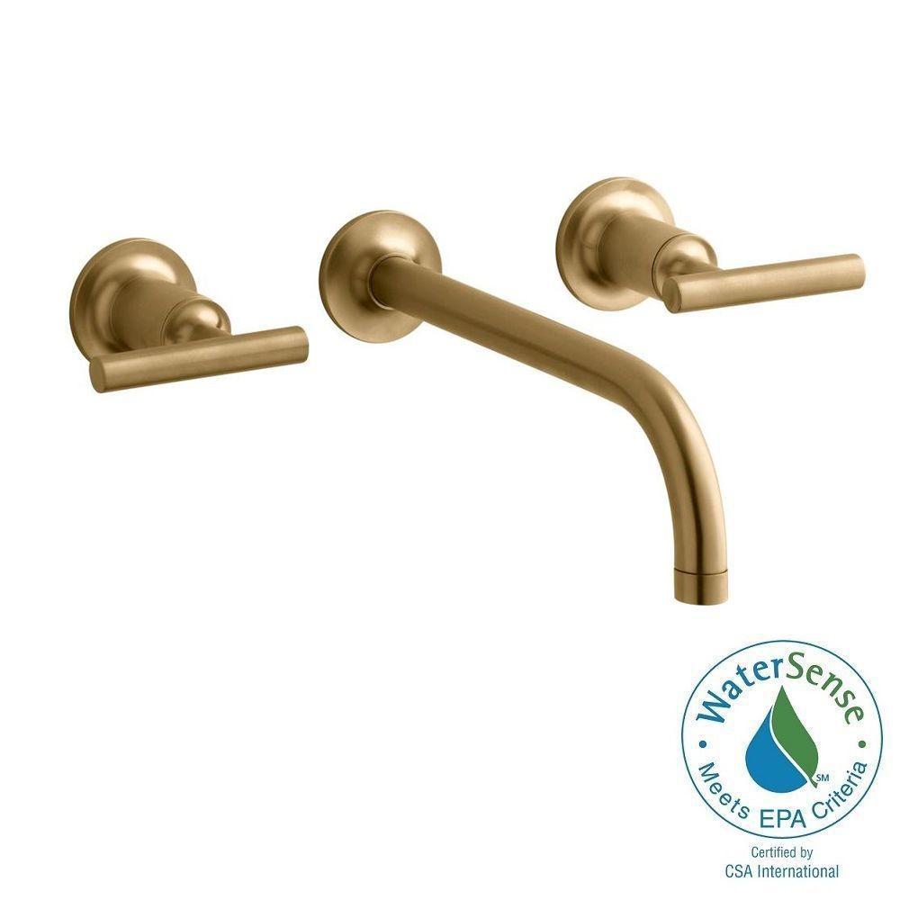 KOHLER Purist Wall-Mount 2-Handle Bathroom Faucet Trim Kit in Vibrant Modern Brushed Gold