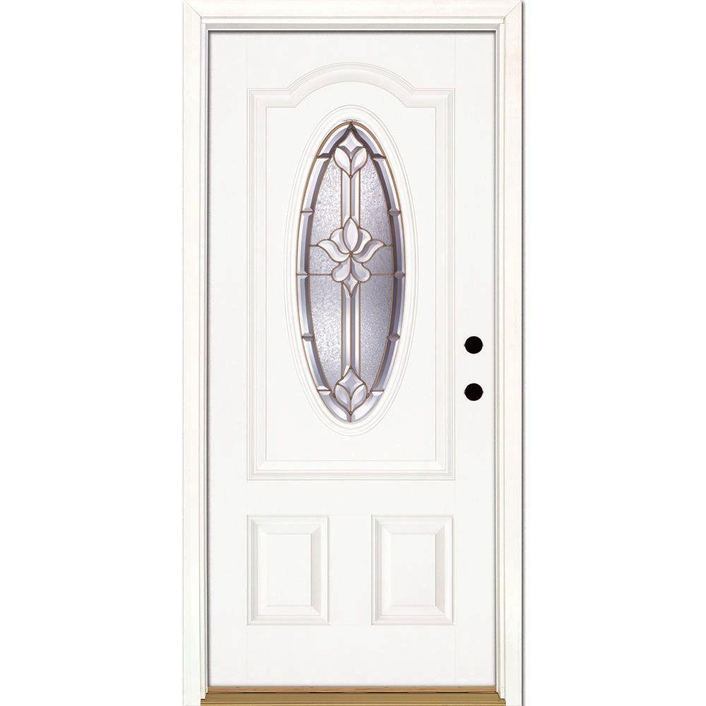 Feather river doors 37 5 in x in medina brass 3 4 for Prehung entry door with storm door