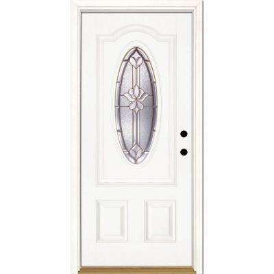 37.5 in. x 81.625 in. Medina Brass 3/4 Oval Lite Unfinished Smooth Left-Hand Inswing Fiberglass Prehung Front Door