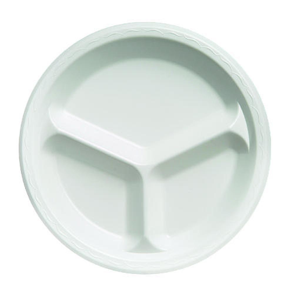 Celebrity 10-1/4 in. 3-Compartment Foam Plates, White, 500 Per Case