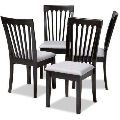 Minette Gray and Espresso Fabric Dining Chair (Set of 4)
