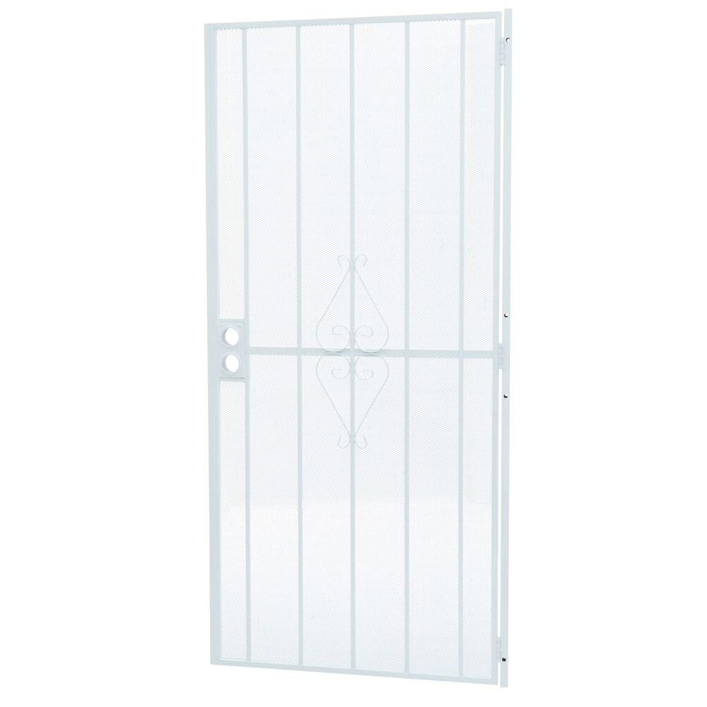 Grisham 36 in. x 80 in. 808 Series Protector White Surface Mount Steel Security Door with Expanded Steel Screen
