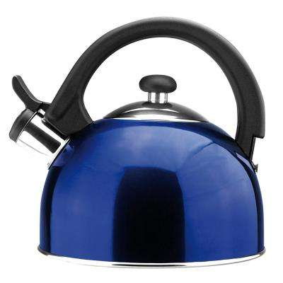 Sabal 2 Qt. Stainless Steel Stovetop Tea Kettle with Whistle in Blue