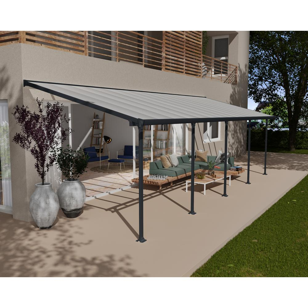 Palram Feria 10 Ft X 30 Ft Gray Patio Cover Awning 702742 The Home Depot