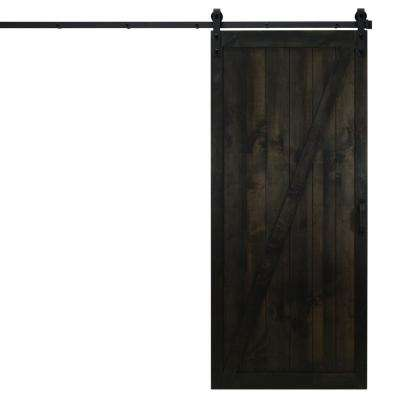 36 in. x 84 in. Classic Z Midnight Black Alder Wood Interior Barn Door Slab with Sliding Door Hardware Kit
