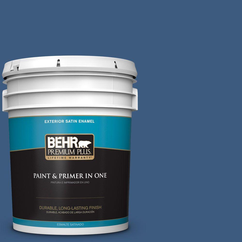BEHR Premium Plus 5-gal. #M520-7 Admiral Blue Satin Enamel Exterior Paint