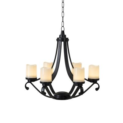 Oasis Collection Black Plastic Outdoor Chandelier with 6 Battery Operated LED Candles