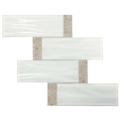 Premier Accents Snow White Wave 11 in. x 14 in. x 4 mm Glass and Stone Mosaic Tile
