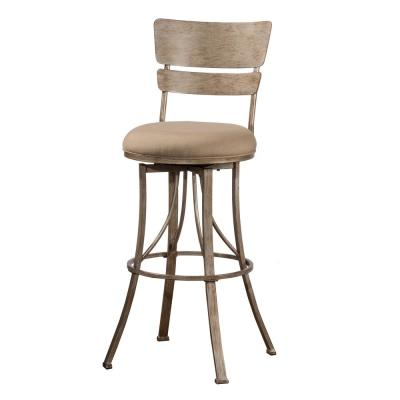 Wakefield 26 in. Champagne and Mushroom Swivel Indoor/Outdoor Counter Stool